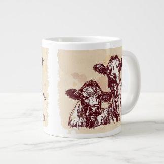 Two cows hand draw sketch & watercolor vintage jumbo mug