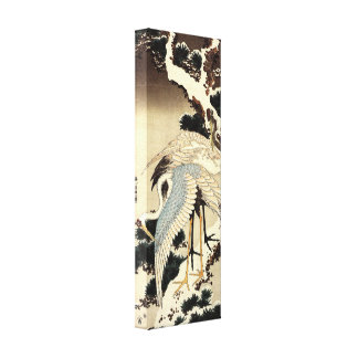 Two cranes on a pine covered with snow by Hokusai Stretched Canvas Prints