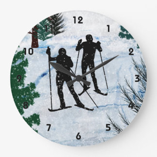 Two Cross Country Skiers in Snow Squall Large Clock