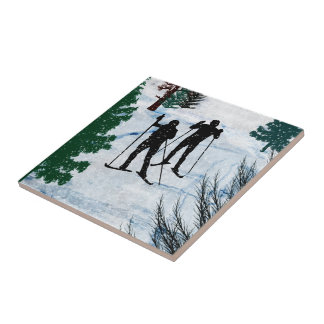 Two Cross Country Skiers in Snow Squall Ceramic Tiles
