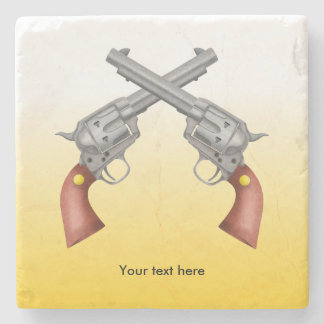 Two Crossed Westen Pistols Stone Coaster