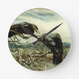 Two Crows Illustration Round Clock