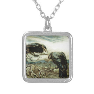 Two Crows Illustration Silver Plated Necklace