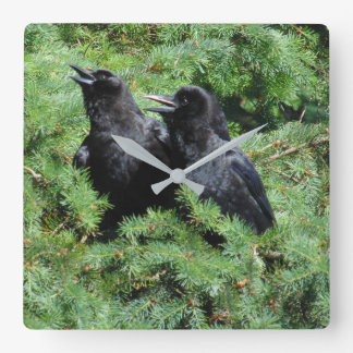 Two Crows Square Wall Clock