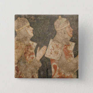 Two crusaders of the Minutolo family 15 Cm Square Badge