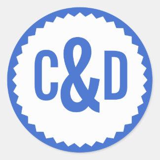 Two Custom Initials Seal Zigzag Border, Delft Blue