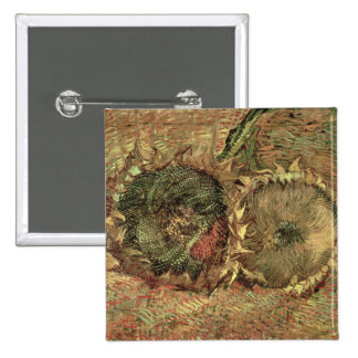Two Cut Sunflowers, 1887 15 Cm Square Badge