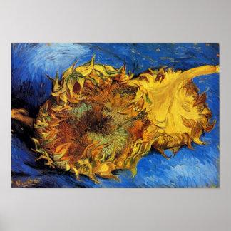 Two Cut Sunflowers Van Gogh Fine Art Poster