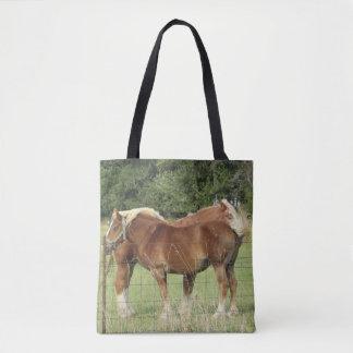 Two Cute Amber Horses Tote Bag
