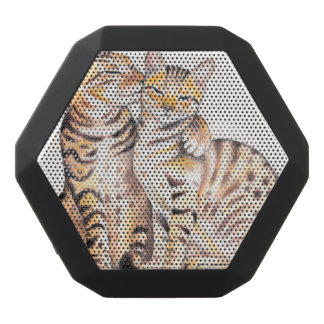 Two Cute Bengal Cats Watercolor art Black Bluetooth Speaker