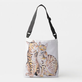 Two Cute Bengal Cats Watercolor art Crossbody Bag