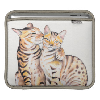 Two Cute Bengal Cats Watercolor art iPad Sleeve