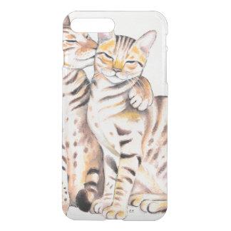 Two Cute Bengal Cats Watercolor art iPhone 8 Plus/7 Plus Case