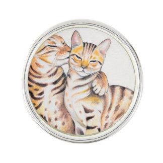 Two Cute Bengal Cats Watercolor art Lapel Pin