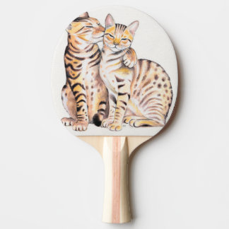 Two Cute Bengal Cats Watercolor art Ping Pong Paddle