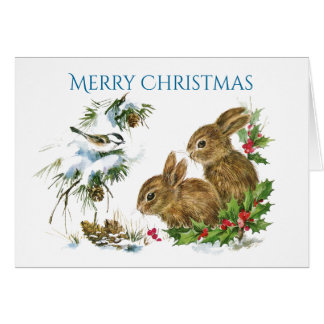 Two Cute Bunnies Merry Christmas Card