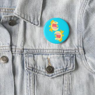 Two Cute Cartoon Fish 6 Cm Round Badge