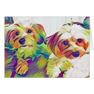 Two cute dogs notecard, blank inside card