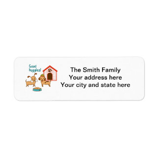 Two cute dogs with food and dog house return address label