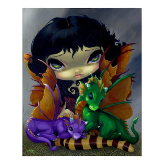 Two Cute Dragonlings ART PRINT dragon fairy