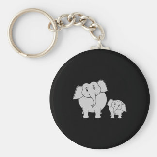 Two Cute Elephants. Cartoon on Black. Basic Round Button Key Ring