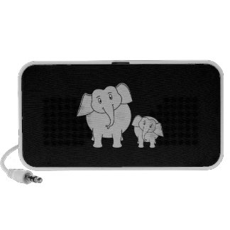 Two Cute Elephants Cartoon on Black iPod Speakers
