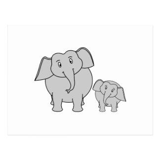Two Cute Elephants. Cartoon. Postcard