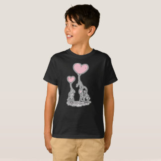 Two Cute Elephants Pink Love Balloons Kids T-Shirt