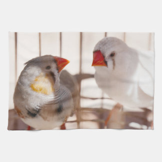 Two Cute Finch Birds in Cage Tea Towel