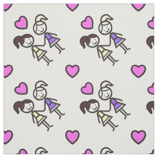 Two Cute Gay Lesbian Girls With Heart Pattern Fabric