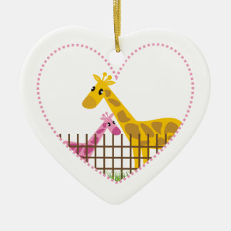 Two cute giraffes in a dotted heart Mother Child Ceramic Heart Decoration