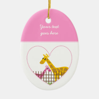 Two cute giraffes in a dotted heart Mother Child Ceramic Oval Decoration