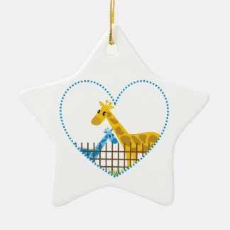 Two cute giraffes in a dotted heart Mother Child Ceramic Star Decoration