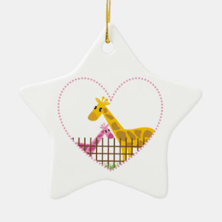 Two cute giraffes in a dotted heart Mother Child Christmas Tree Ornament