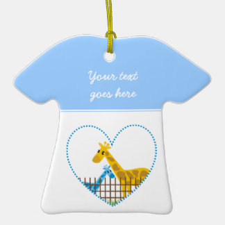 Two cute giraffes in a dotted heart Mother Child Ceramic T-Shirt Decoration