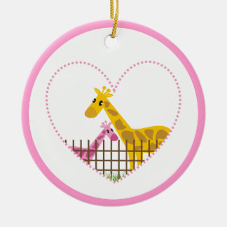 Two cute giraffes in a dotted heart Mother Child Round Ceramic Decoration