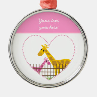 Two cute giraffes in a dotted heart Mother Child Silver-Colored Round Decoration