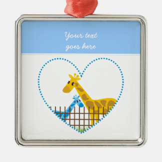 Two cute giraffes in a dotted heart Mother Child Silver-Colored Square Decoration