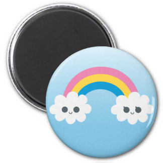 Two Cute Happy Rainbow Clouds Refrigerator Magnets