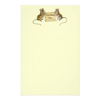 Two Cute Mice with Parchment Scroll Stationery Design