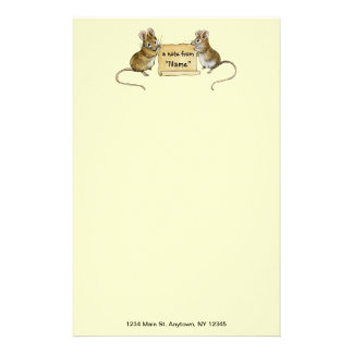 Two Cute Mice with Parchment Scroll -with address Personalized Stationery