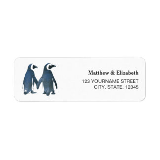 Two Cute Penguins | Romantic Wedding Return Address Label