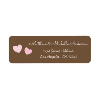Two Cute Pink Hearts Mr and Mrs Whimsical Sweet Return Address Label
