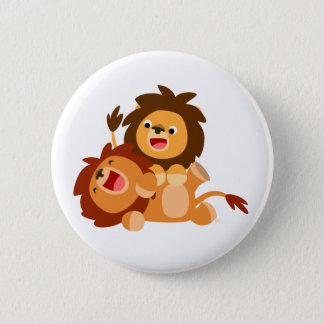 Two Cute Playful Cartoon Lions 6 Cm Round Badge