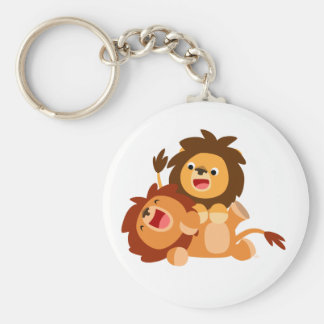 Two Cute Playful Cartoon Lions Basic Round Button Key Ring