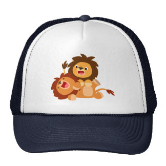 Two Cute Playful Cartoon Lions Cap