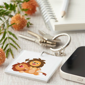 Two Cute Playful Cartoon Lions Double-Sided Square Acrylic Key Ring