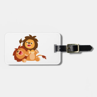 Two Cute Playful Cartoon Lions Luggage Tag