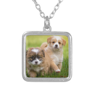 Two cute puppies playing and running a race silver plated necklace