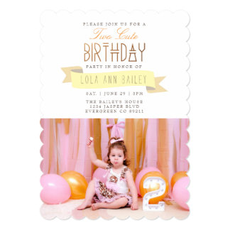 Two Cute   Second Birthday Party Photo Card